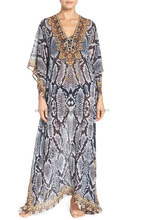 Nieuwste Mode Digital Print Polyester <span class=keywords><strong>Kaftan</strong></span>/Beach Coverup Met Multicolor Strass