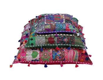 Wholesale Square Sari Patchwork Floor Cushions Hand Embroidered ...