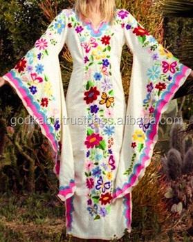 Wedding Dress Bohemian W/mexican Embroidery Women Batwing Sleeve ...
