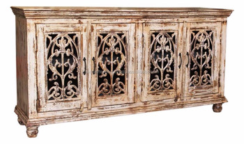 Antique Wooden Sideboard Credenza Distressed Hand Painted 4 Door Cabinet With Cast Iron Grill Buy Buffet Cabinetkitchen Cabinet Doorssideboard