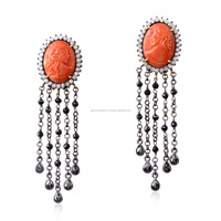 18kt Gold Pave Diamond Carving Coral Black Spinel Stud Earring Wholesale Jewelry
