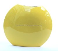 High quality best selling eco friendly round yellow color spun bamboo vase in Viet Nam