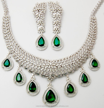 Bridal Pear Cut Emerald Necklace Earrings Set