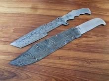 Damascus Blank) Hand Made Damascus Bowie Blank Blade Hunting Knife