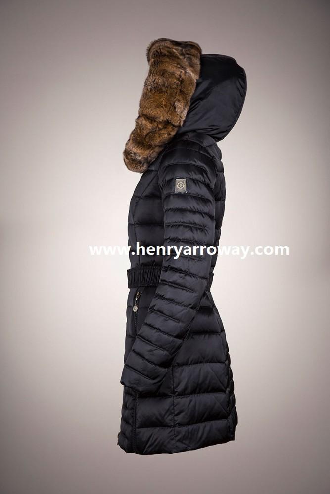 fb8fafcf Abrigo de plumas para mujeres con relleno de plumas y capucha de pelo de  orylag