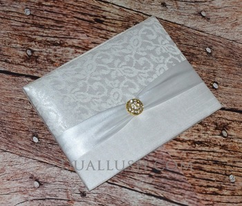 Wedding Invitation Card Folio White Satin With Ribbon And Brooch Buckle