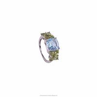 925 Sterling Silver Rodium Polish Blue topaz Peridot Stone Ring