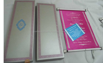 custom made boxed scroll invites with rsvp cards and envelopes for