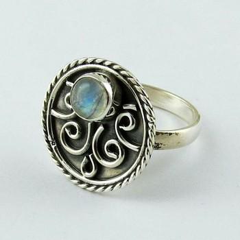 b7535c1ed3e1 Colección moderna de la piedra lunar del arco iris de Plata de Ley 925  anillo de