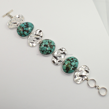Natural TEBETAN TURQUOISE 925 Sterling Silver Jewelry Gemstone Bracelet Sunrise Jewellers