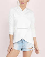 over sized ivory hoodie with a slight cowl neckline and Overlapped at the front body with thumb holes