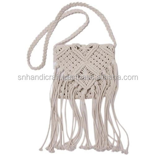 Women Crochet Cross Body Handbag Knit Shoulder Bag Beach Bohemian Tassel Bags