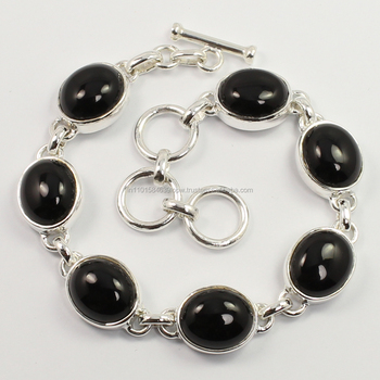Lovely Natural BLACK ONYX 925 Sterling Silver Gemstones Bracelet Sunrise Jewellers