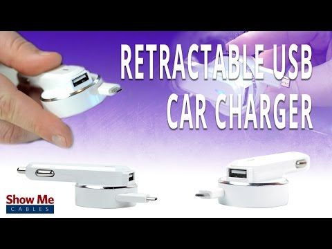 Retractable USB Car Charger - Includes Additional USB Port To Charge 2 Devices At Once