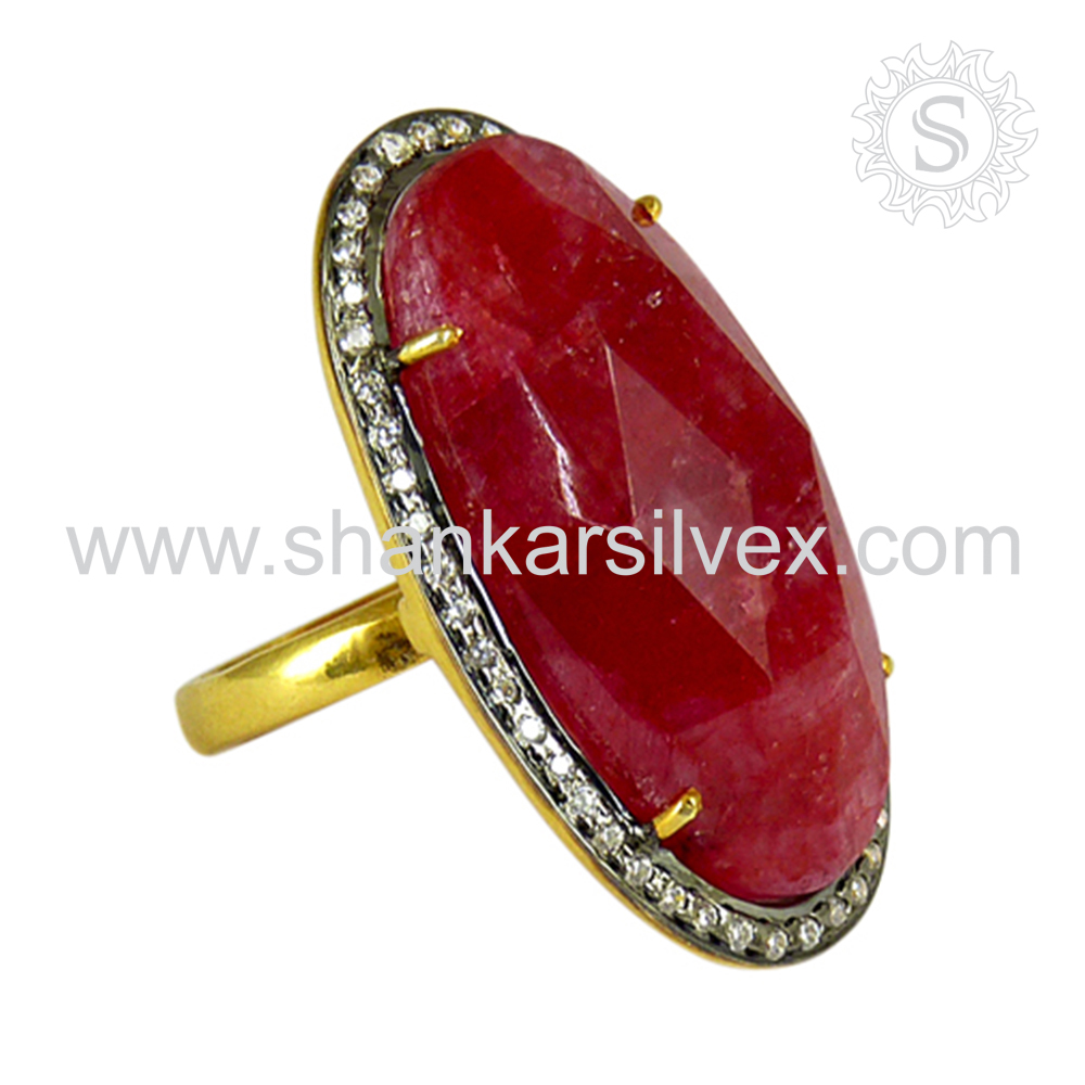 Delightful Fashion Ruby White CZ Ring Hot Selling Silver Jewelry 925 Silver Jewelry Gemstone Silver Ring