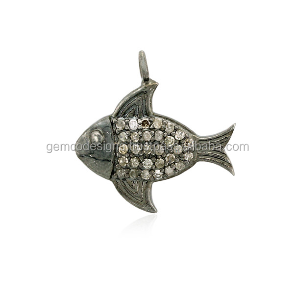 925 Sterling Silver Diamond Fish Charms Handmade Jewelry Wholesale