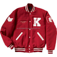 <span class=keywords><strong>Varsity</strong></span>/<span class=keywords><strong>Letterman</strong></span>/College Jacke Rot/Weiß made von Melton Wolle