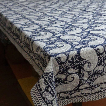 Indian Print Bedspread KAMAL NEEL AMBI PAISLEY Wood Block Design Tablecloth