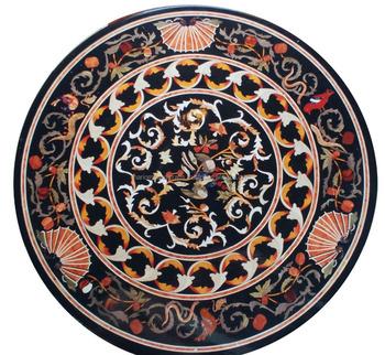 Black Marble Dining Round Coffee Table Top Rare Stone Inlay Mosaic ...
