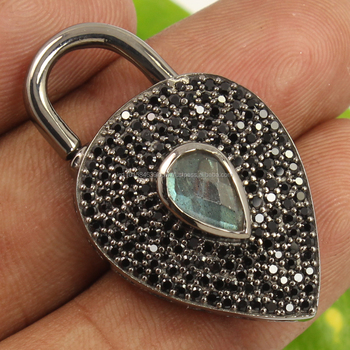 Natural LABRADORITE & BLACK SPINEL Gemstone 925 Sterling Silver Pave Pendant NEW