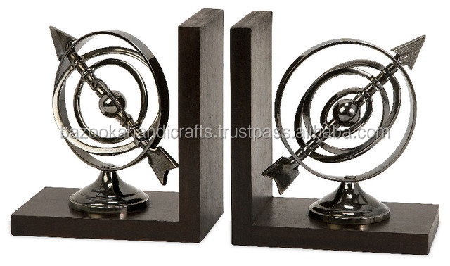 Elegant Silver Chrome Finish Bookends, Metal and Wood Bookends