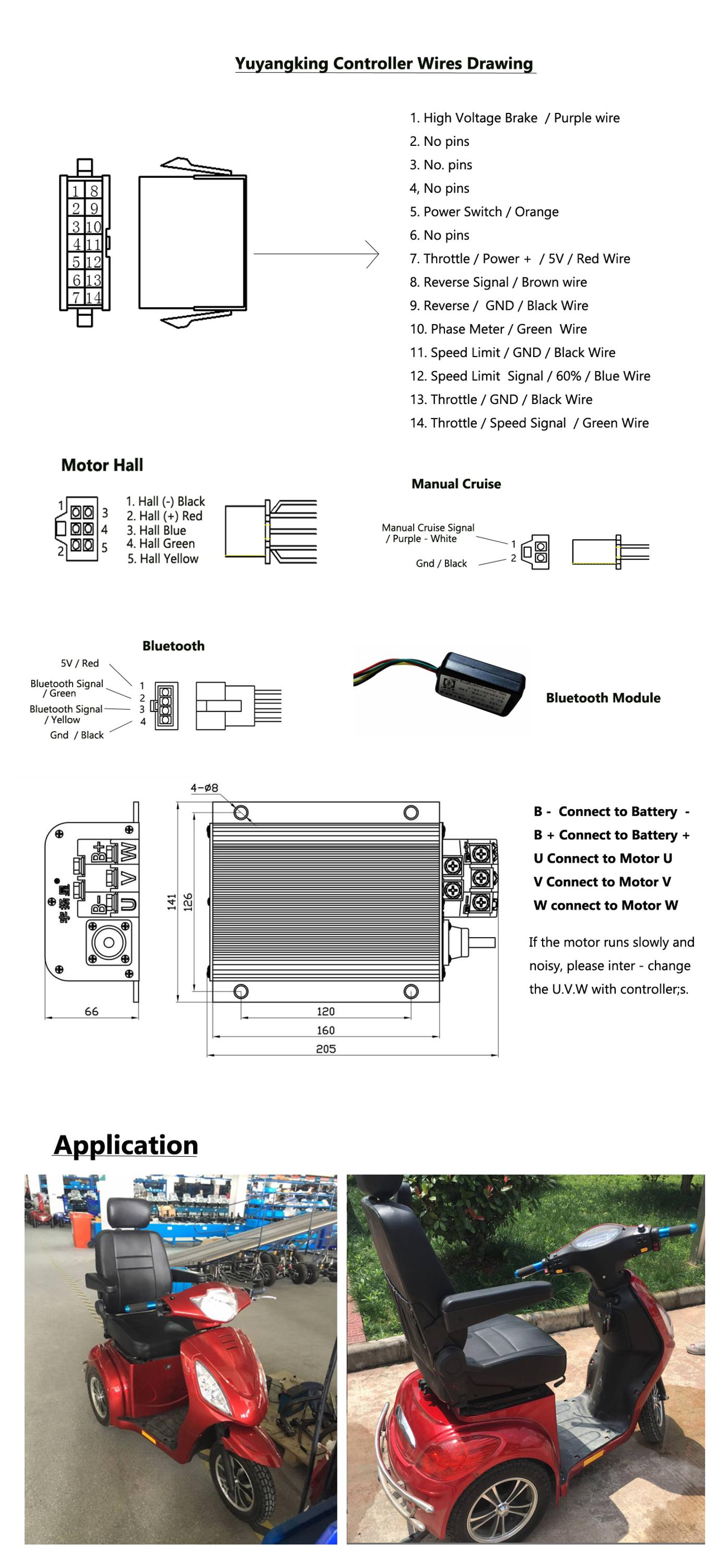 Mobility Scooter Brushless Wheelchair Controller 60v 800w 950w Buy 3 Phase Dc Motor Diagram Wiring