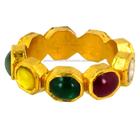 Diamond Gemstone Jewelry 22kt Yellow Gold Mix Stone Navaratna Ring