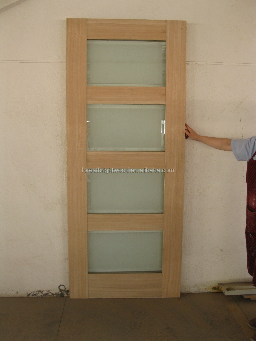 Wood Interior Sliding Frosted Glass Pocket Doors View