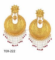 Traditional Gold Plated Silver Red and White Color Beads Drop Earrings Womens Fashion Jewelry