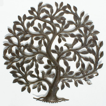 Tree Of Life With Leaves And Birds Gifts Haiti Metal Wall Decor ...