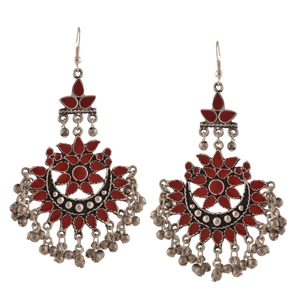 11217a0c9 Zephyrr Fashion Oxidized Silver Afghani Tribal Dangler Hook Chandbali  Earrings