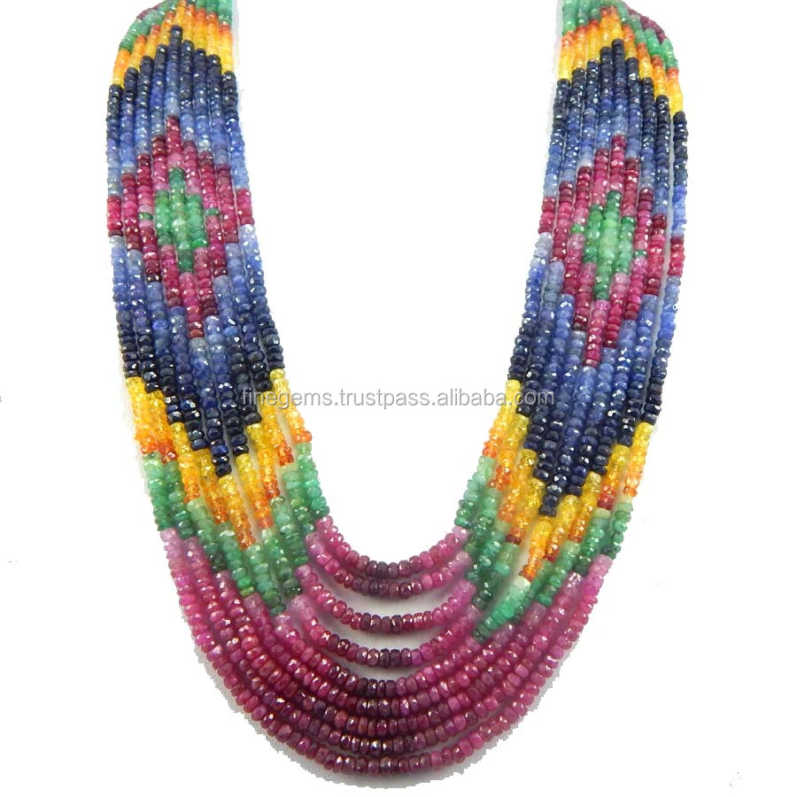 Natural faceted Multi Sapphire roundle Beads 9 Strands Necklace