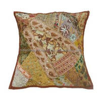 Mustard Cushion Cover Decorative Ethnic Patchwork Beaded Indian Designer Pillow Case 16'' Inches PL6446