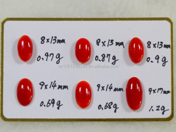 Natural Taiwan Red Color Coral Oval Cabochon Loose Stone