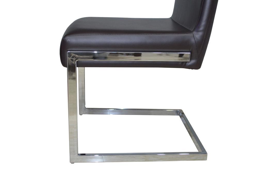 Zwart en wit leer metalen roestvrij staal eetkamer stoel met
