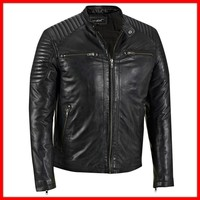 2015 MENS SLIMFIT BIKER GENUINE LEATHER JACKET BROWN COLOUR