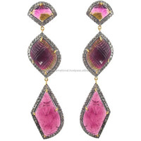 14k Gold Cut Pink Tourmaline Diamond Earrings 925 Silver Dangle Women Unique Handmade Earrings Jewelry