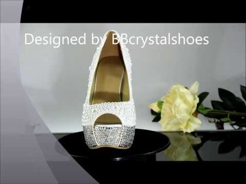 White Pearl Wedding Shoes handmade rhinestone crystal high heel peep toe bridal shoes