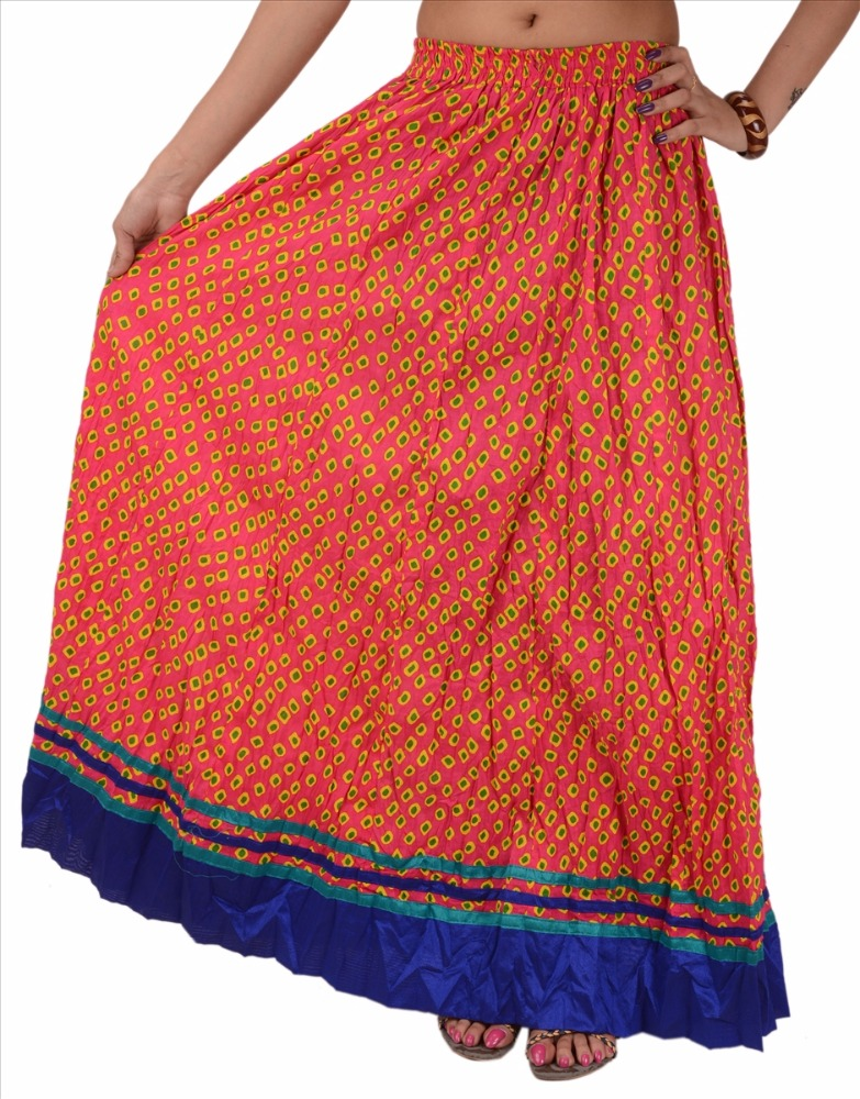 Skirts & Scarves Cotton Bandhani Printed Skirt for Women (Red)