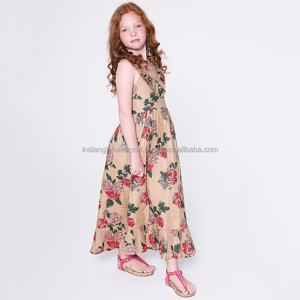 Tan Floral Maxi Dress - Kids And Tween - Buy Girls Party Dresses ...