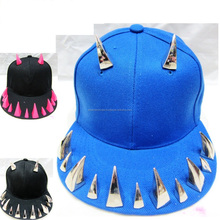 Snapback cap With Stud Spike - Snapback Cap With Silver Spike Stud Front - Hip-hop Spikes snapback caps - fashion metal punk