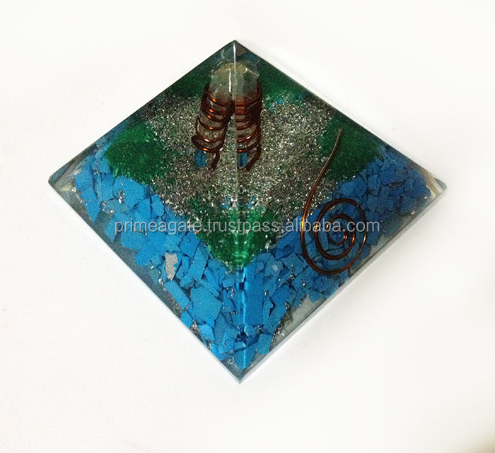 Turquoise Orgonite Pyramid With Crystal Point
