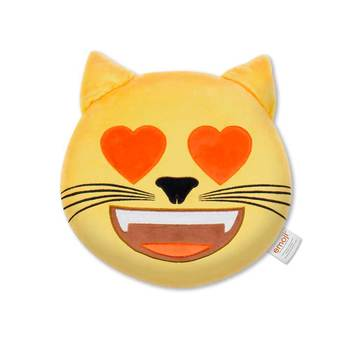 Official Emoji Plush Cat Heart Eyes Pillow With Trademark