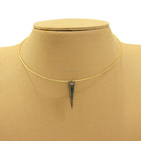 14k Yellow Gold Choker Necklace with Silver Diamond Arrowhead Jewelry Pendant