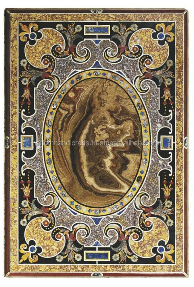 Black Marble Dining Center Table Top Rare Mosaic Inlay Scagliola ...