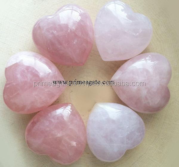 Gemstone Rose Quartz Puffy Hearts: Wholesale Hearts Pub Heart Healing Heart Semi Precious Heart Gemstone Heart