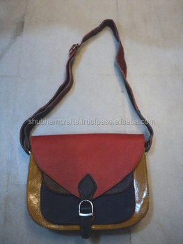 Multi Colours Leather Patchwork Indian Bags