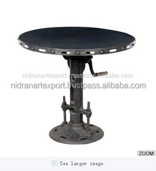 INDUSTRIAL CAST IRON ADJUSTABLE HEIGHT DINING TABLE
