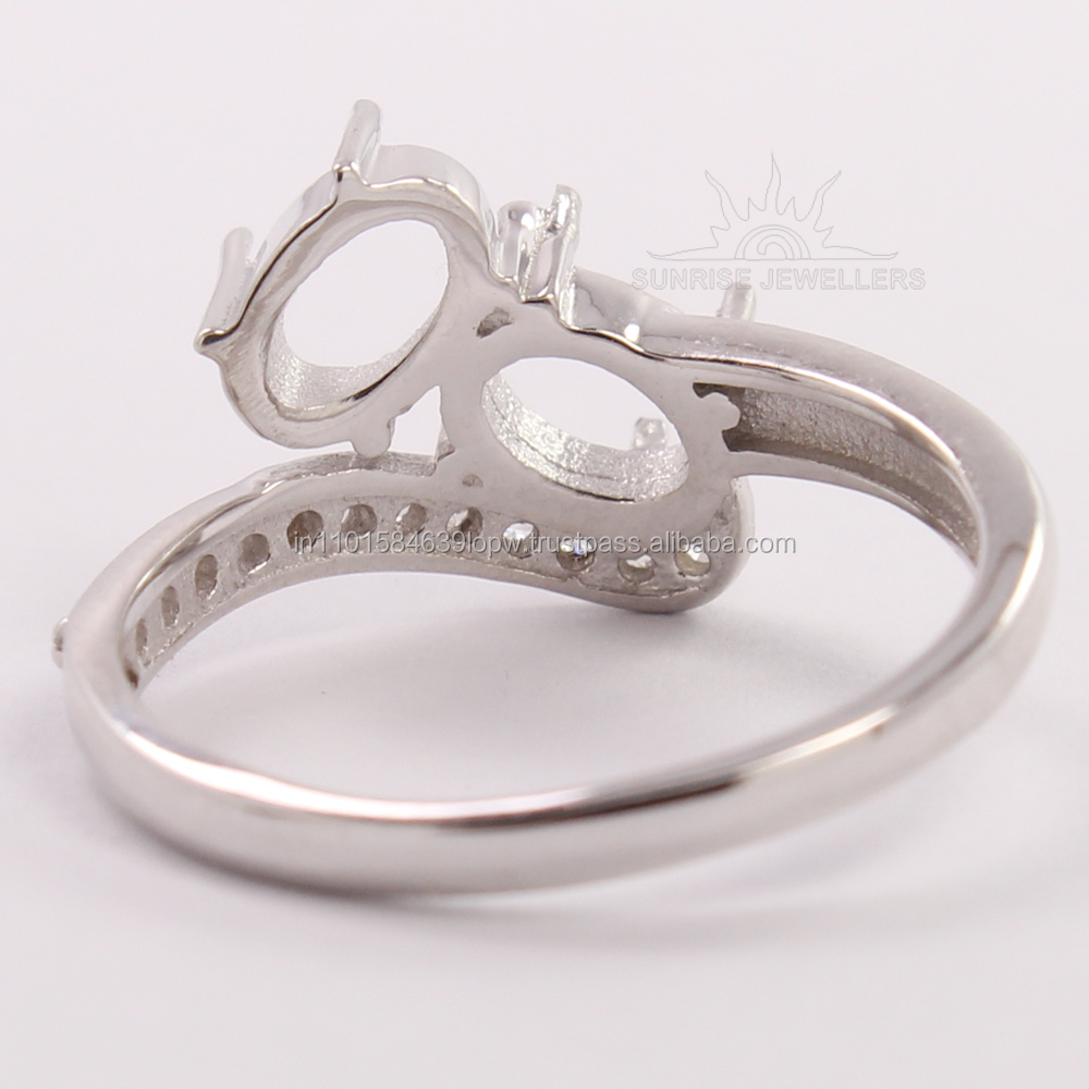 New Stylish Fashion Ring All Sizes 925 Sterling Silver Oval CZ Semi Mount