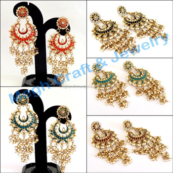 15fb0cda7 Party wear pearl Chandelier Earring-Wholesale Indian Traditional Chandelier  Earrings-Party wear Kundan Earrings
